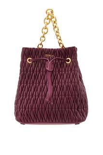 Бордовая стеганая сумка-торба Stacy Cometa Furla