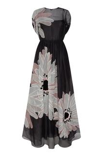 Черное шелковое платье с цветами Margherita Valentino