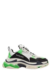 Черно-бело-зеленые кроссовки Triple S Balenciaga