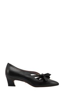 Черные кожаные туфли с бантами Gucci