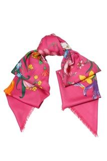 Платок из кашемира и шелка с цветочным мотивом Gucci