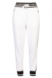 Белые брюки с контрастной отделкой Dolce & Gabbana