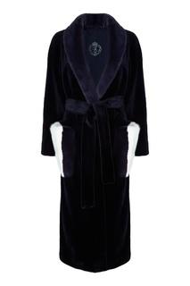 Синее меховое пальто с поясом Меха Екатерина