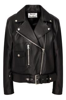 Черная кожаная куртка косого кроя Acne Studios
