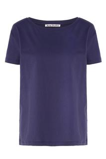 Темно-синяя хлопковая футболка Acne Studios