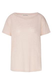 Розовая льняная футболка Acne Studios