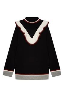Черный свитер с воланом и полосками Petrovna