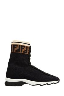Черные текстильные ботинки Fendi