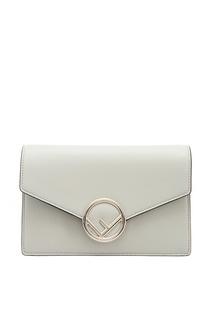 Кожаная сумка с декоративной застежкой Fendi