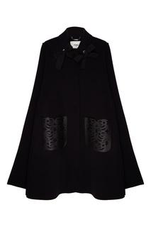 Черное шерстяное пальто с отделкой Fendi