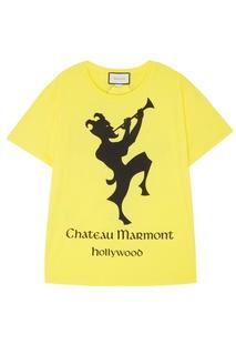 "Желтая футболка с принтом ""Chateau Marmont"" Gucci"