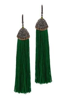 Зеленые серьги-кисти с цирконами Ruby Novich
