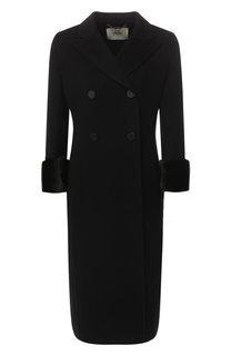 Шерстяное пальто с отделкой из меха норки Fendi