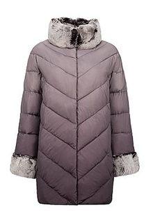 Женская текстильная куртка на иск. пуху с отделкой мехом кролика LE Monique