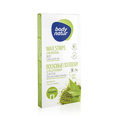 BODY NATUR Восковые полоски для депиляции тела для нормальной и сухой кожи с Экстрактом чая матча 16 полосок + 2 салфетки 5в1