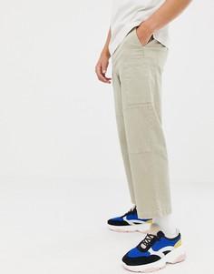 Бежевые брюки карго из плотной саржи ASOS WHITE - Белый