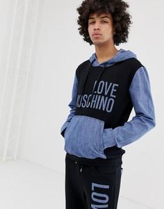 Худи с джинсовыми вставками Love Moschino - Черный