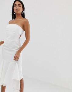 Креповое платье-бандо миди с оборкой ASOS DESIGN - Кремовый