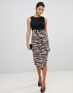 Платье-футляр 2-в-1 с тигровым принтом на юбке Closet London - Мульти