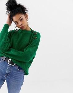 Трикотажный джемпер с пуговицами на плече Blend She - Зеленый
