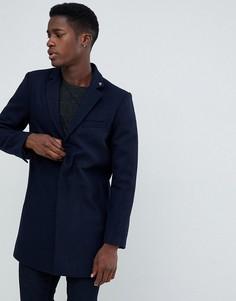 Темно-синее пальто с добавлением шерсти Farah Portobello - Темно-синий