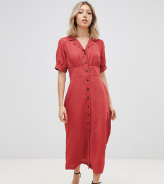 Чайное платье макси на пуговицах ASOS DESIGN Petite - Оранжевый