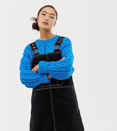 Джинсовое платье-сарафан с контрастными строчками COLLUSION - Черный