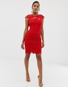 Красное кружевное платье миди с фигурной отделкой на спине Paper Dolls - Красный