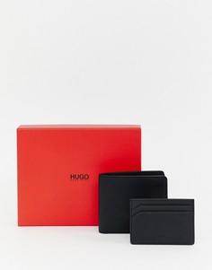 Подарочный набор с черным кожаным бумажником/кредитницей HUGO - Черный