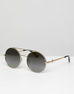 Круглые солнцезащитные очки в золотистой оправе с двойной планкой LOVE Moschino - Золотой