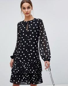 Свободное платье в горошек HUGO - Черный