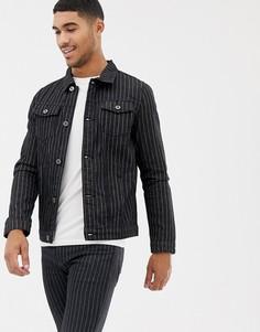Черная джинсовая куртка в полоску Liquor N Poker - Черный