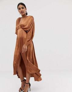 Атласное платье миди с рукавами летучая мышь ASOS EDITION - Бежевый