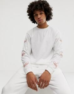 Белый лонгслив с принтом логотипа на рукаве adidas Originals - Белый