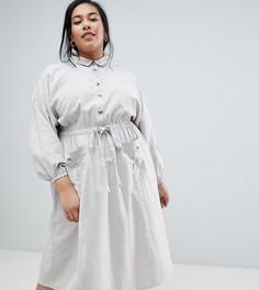 Повседневное платье-рубашка миди с талией на шнурке ASOS DESIGN Curve - Серый