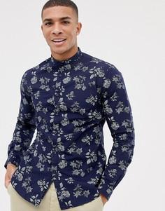 Приталенная строгая рубашка с длинными рукавами и принтом роз Celio - Темно-синий