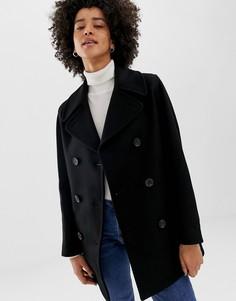 Двубортное пальто из ткани с добавлением шерсти Gloverall Reefer - Черный
