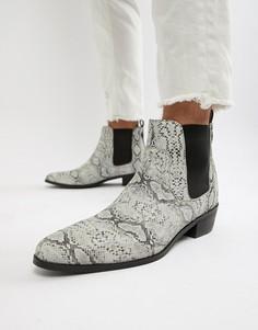 Белые кожаные ботинки со змеиным принтом House Of Hounds - Бежевый