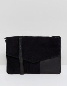 Кожаная сумка-конверт Pieces Kristel - Черный