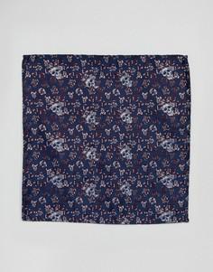 Темно-синий жаккардовый платок для нагрудного кармана с принтом черепов Twisted Tailor - Темно-синий