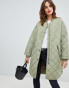 Стеганое пальто в стиле casual Boss - Зеленый