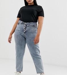 Выбеленные джинсы в винтажном стиле с открытой молнией и отворотом на поясе ASOS Design Curve - Синий