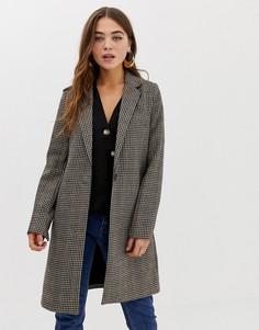 Приталенное пальто в клетку Pimkie - Коричневый