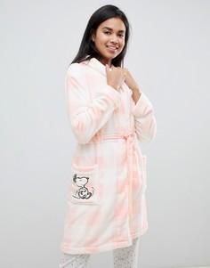 Розовый пушистый халат в полоску с отделкой Snoopy Womensecret - Розовый