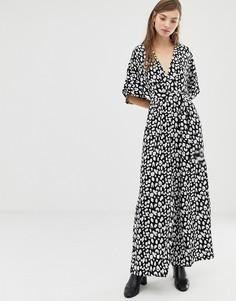 Комбинезон с рукавами-кимоно и леопардовым принтом Glamorous - Черный
