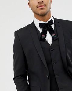 Бархатный галстук-бабочка с вышивкой ASOS DESIGN - Черный