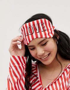 Красная маска для сна в чехле с полосатым принтом карамельной трости Hey Peachy - Красный