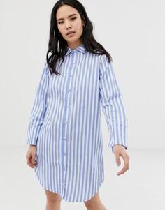 Синяя ночная сорочка в полоску Hey Peachy - Синий