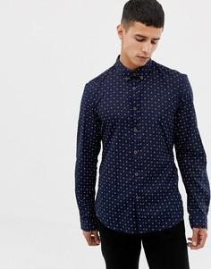 Темно-синяя рубашка с длинными рукавами и цветочным принтом Tom Tailor - Темно-синий