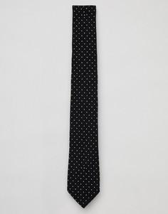 Черный узкий галстук с узором в горошек и цветочным принтом Paul Smith - Черный